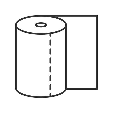 watercloset: Toilet paper icon or logo line art style. Vector Illustration.