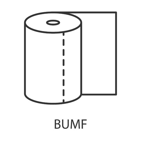 defecation: Toilet paper icon or logo line art style. Vector Illustration.