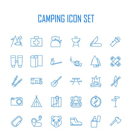 swiss alps: Camping icons. Outdoor equipment. Swiss knife, axe, hiking boots, map, compass and other things for camping. Line art vector illustration. Illustration