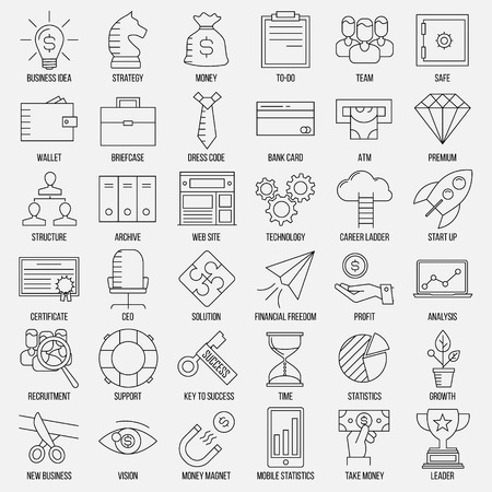 career ladder: Business icons. Start up and management signs. Safe, wallet, archive, career ladder, key to success, money magnet and other things. Line art vector illustration.
