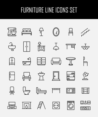 fridge lamp: Set of furniture icons in modern thin line style. High quality black outline home symbols for web site design and mobile apps. Simple linear interior pictograms on a white background. Illustration
