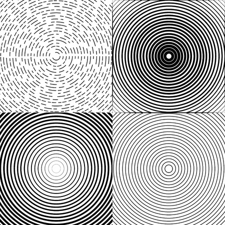 Concentric circle elements or backgrounds. Set of 4 version. Black and white color ring. Vector illustration for sound wave. Abstract circle graphics. Hypnotic background.