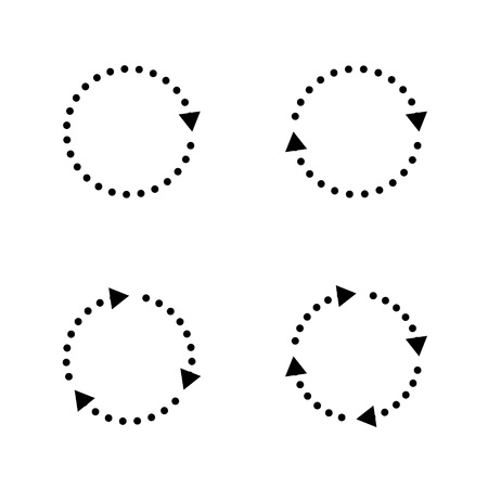 Insieme delle frecce di vettore cerchio grigio in stile moderno. Elemento per siti Web, illustrazione di connessione, orientamento, per cursori o movimento. Illustrazione vettoriale su uno sfondo bianco. Vettoriali