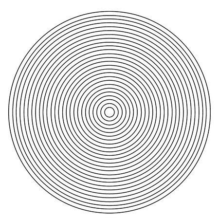 Concentric circle element. Black and white color ring. Vector illustration for sound wave on a white background. Illustration