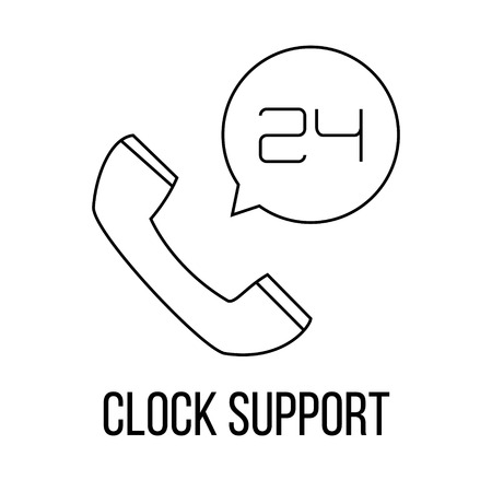 not open: Clock support icon or logo line art style. Vector Illustration.