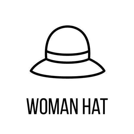 Woman hat icon or logo in modern line style. High quality black outline pictogram for web site design and mobile apps. Vector illustration on a white background.