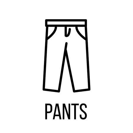 L'icône de pantalon ou le logo dans un style de ligne moderne. Pictogramme noir de haute qualité pour la conception de sites Web et les applications mobiles. Illustration vectorielle sur fond blanc.