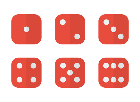 6 dices in different combinations in modern flat style Vector Illustration