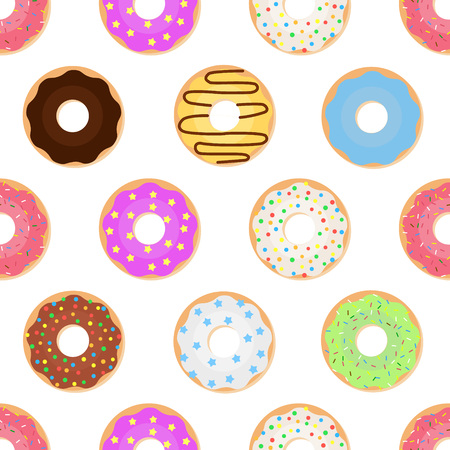 Seamless pattern with glazed colorful donuts. Vector illustration of sweet donuts on a light background. Illustration
