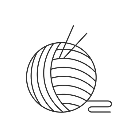 Crochet icon or logo line art style. Vector Illustration.