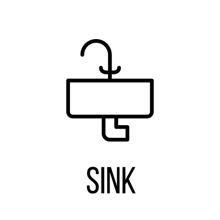 washbowl: Sink icon or logo in modern line style. High quality black outline pictogram for web site design and mobile apps. Vector illustration on a white background.