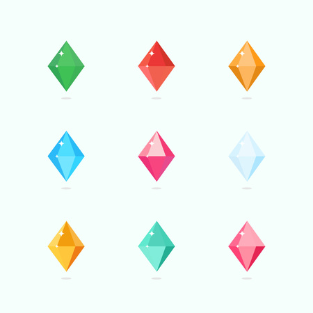 Cartoon vector gems and diamonds set in a flat style in different colors. Diamond stones isolated on a colored background. Vector illustration.