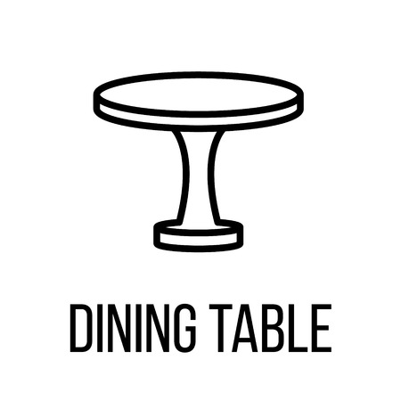 Dining table icon or logo in modern line style. High quality black outline pictogram for web site design and mobile apps. Vector illustration on a white background.