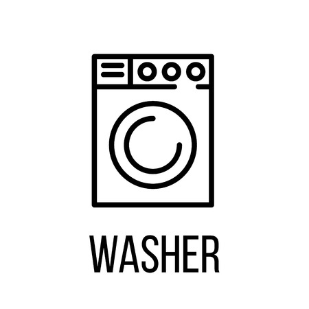 fully automatic: Washer icon or logo in modern line style. High quality black outline pictogram for web site design and mobile apps. Vector illustration on a white background.