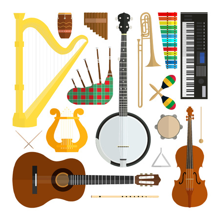 Set of vector modern flat design musical instruments isolated on white background. Elements for your product or design, web and mobile application. Guitar, violin, banjo, synthesizer, harp, lira and others. Cartoon graphic design. Illustration