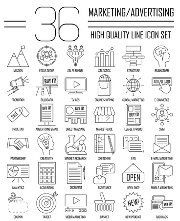 smm: Marketing icons. Advertising and media signs. Marketplace, direct massage, coupon, billboard, statistics and other things. Line art vector illustration. Illustration