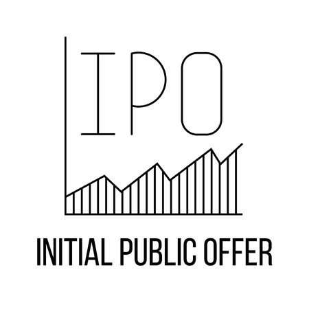 initial public offerings: IPO icon or logo line art style. Vector Illustration.