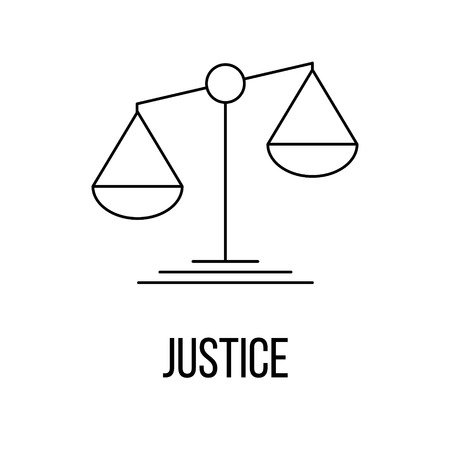 acquittal: Justice icon or logo line art style. Vector Illustration.