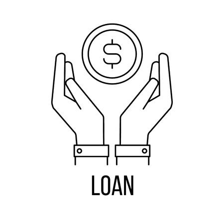 graduating seniors: Loan icon or logo line art style. Vector Illustration. Illustration