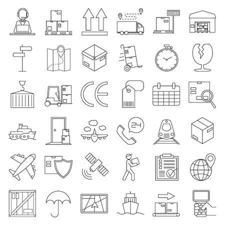 Logistic icons. Warehouse and shipping equipment. Storage scales, dolly, tag, forklift, crane and other things. Line art vector illustration.