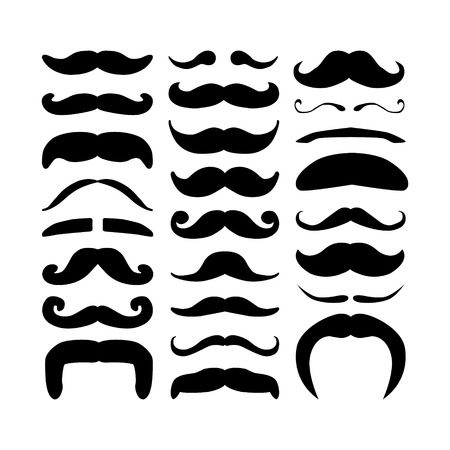 handlebar: Huge set of black silhouette hipster vector mustaches. Collection of men`s retro mustache. Hairstyles for barber, avatars, cards and other pictures. Vector illustration isolated on a white background.