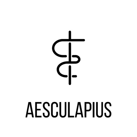 esculapio: Aesculapius icon or logo in modern line style. High quality black outline pictogram for web site design and mobile apps. Vector illustration on a white background.