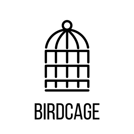 prison house: Birdcage icon or logo in modern line style. High quality black outline pictogram for web site design and mobile apps. Vector illustration on a white background.