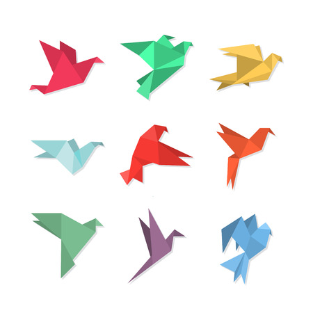Origami paper birds in a flat style. Vector illustration of pigeons  doves  colibri  hummingbirds set on a white background. Polygonal shape. Paper figures on flight. Ilustracja