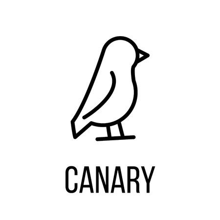 Icône de canari ou logo dans le style de ligne moderne. Pictogramme de contour noir de haute qualité pour la conception de sites Web et les applications mobiles. Illustration vectorielle sur un fond blanc. Logo
