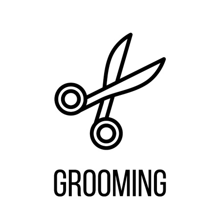 canine: Grooming icon or logo in modern line style. High quality black outline pictogram for web site design and mobile apps. Vector illustration on a white background.