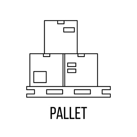 removals boxes: Pallet icon or logo line art style. Vector Illustration. Illustration