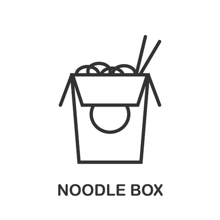 chinese take away container: Noodle Box icon or logo line art style. Vector Illustration.