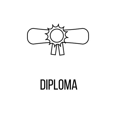 deed: Diploma icon or logo line art style. Vector Illustration isolated on white background. Illustration