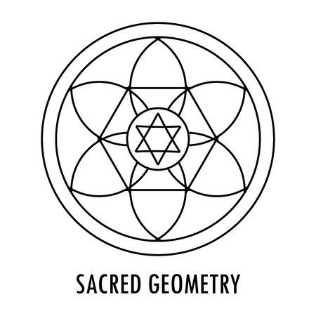 Sacred geometry linear contour element. Alchemy, religion, philosophy, spirituality, hipster symbol or element. Vector illustration. Geometric Shapes. Illustration