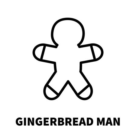 christmas cake: Gingerbread icon or logo in modern line style. High quality black outline pictogram for web site design and mobile apps. Vector illustration on a white background.