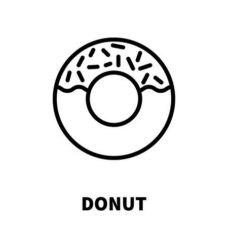ドーナツ アイコンまたは近代的なライン スタイルのロゴです。Web サイトのデザインおよびモバイル アプリケーションの高品質黒のアウトライン ピ  イラスト・ベクター素材