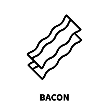 alimentation: Bacon icon or logo in modern line style. High quality black outline pictogram for web site design and mobile apps. Vector illustration on a white background.