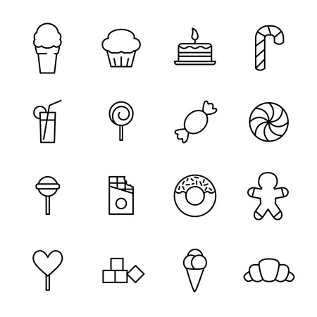 pone: Set of sweets icons in modern thin line style. High quality black outline candy symbols for web site design and mobile apps. Simple linear sweets pictograms on a white background.