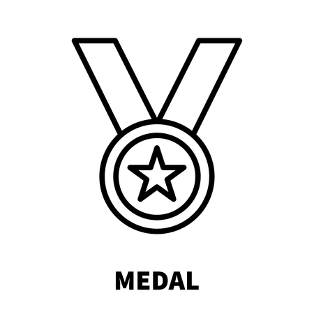 Medal icon  in modern line style. High quality black outline pictogram for web site design and mobile apps. Vector illustration on a white background.