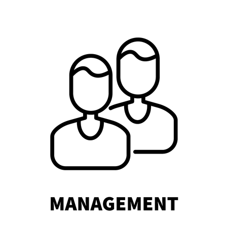 Management icon or logo in modern line style. High quality black outline pictogram for web site design and mobile apps. Vector illustration on a white background.