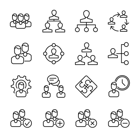 organize: Set of business management in modern thin line style. High quality black outline organize symbols for web site design and mobile apps. Simple business team filter pictograms on a white background.