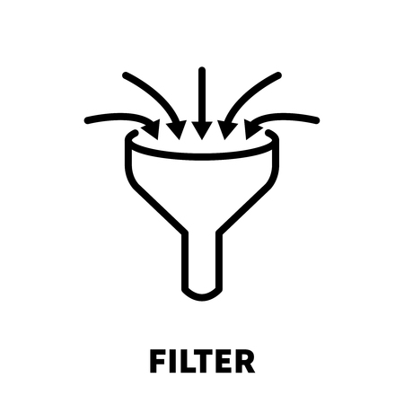 Filter icon or logo in modern line style. High quality black outline pictogram for web site design and mobile apps. Vector illustration on a white background.