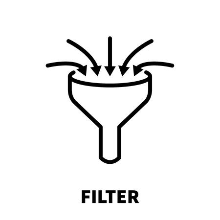 hoja de calculo: Filtro de icono o logotipo en estilo de línea moderna. Pictograma de contorno negro de alta calidad para diseño de sitios web y aplicaciones móviles. Ilustración vectorial sobre un fondo blanco. Vectores