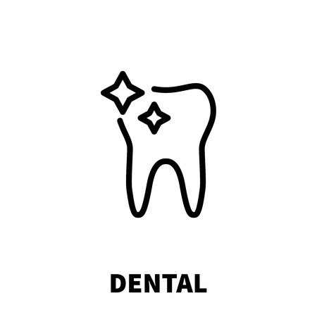 Dental icon or logo in modern line style. High quality black outline pictogram for web site design and mobile apps. Vector illustration on a white background.