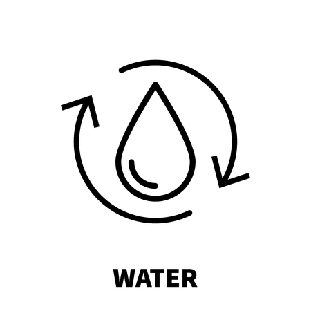 Water icon or logo in modern line style. High quality black outline pictogram for web site design and mobile apps. Vector illustration on a white background.