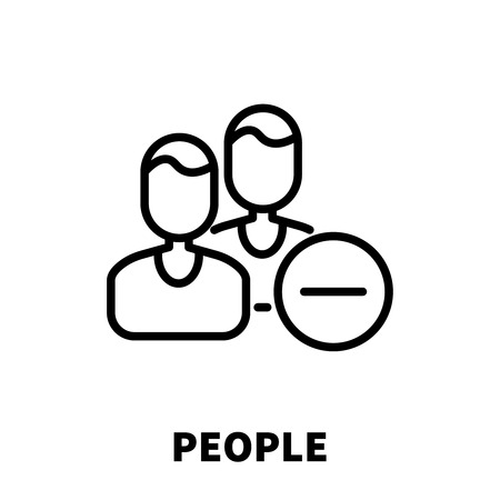 organized group: People icon or logo in modern line style. High quality black outline pictogram for web site design and mobile apps. Vector illustration on a white background.