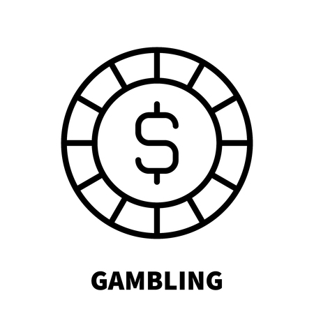 Gambling icon or logo in modern line style. High quality black outline pictogram for web site design and mobile apps. Vector illustration on a white background.