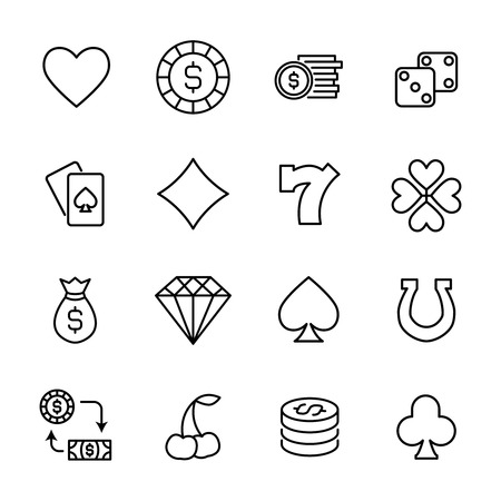 Set von Glücksspielen in modernen dünnen Linie Stil. Hochwertige schwarze Outline-Casino-Symbole für Website-Design und mobile Apps. Einfache Glücksspiel Piktogramme auf einem weißen Hintergrund.