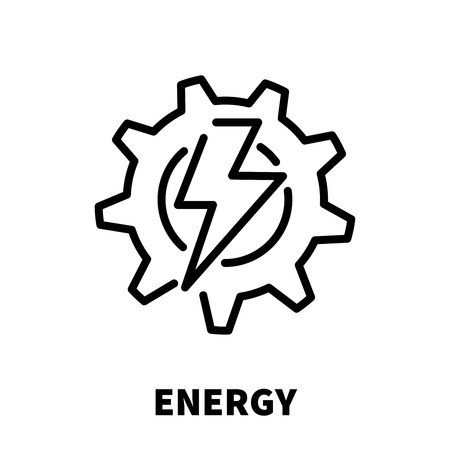 benzene: Energy thinking icon or logo in modern line style. High quality black outline pictogram for web site design and mobile apps. Vector illustration on a white background. Illustration