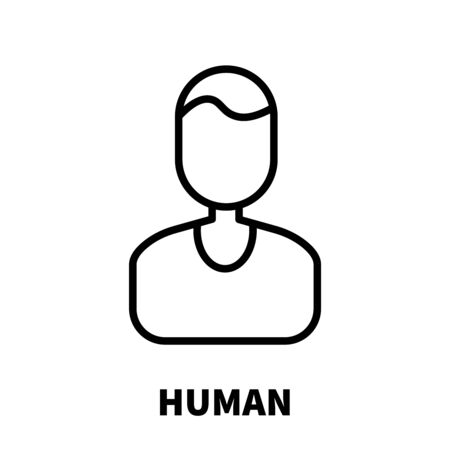 coordinated: Human icon or logo in modern line style. High quality black outline pictogram for web site design and mobile apps. Vector illustration on a white background.